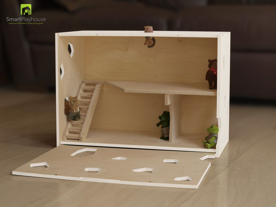 Modern dollhouse on plywood