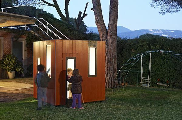 garden playhouse with kids and lightning