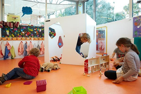 Indoor cubby house with kids
