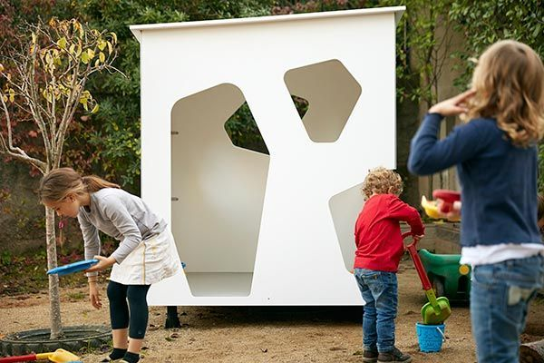 Modern cubby house with kids